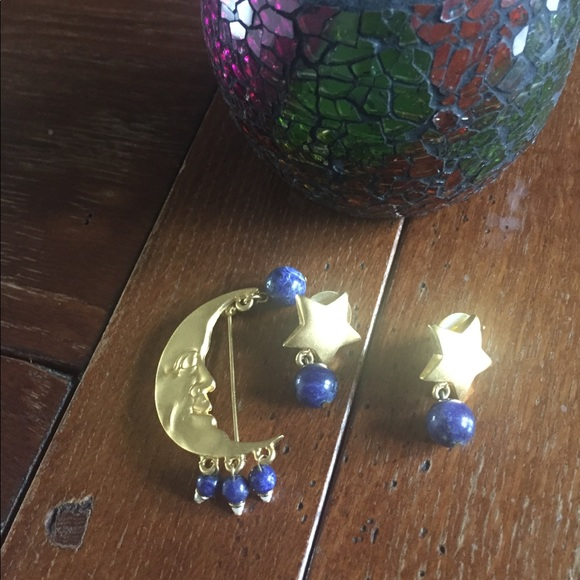 Jewelry - Gold moon pin and matching star earrings